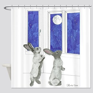 Daily Doodle 4 Rabbit Moon Shower Curtain