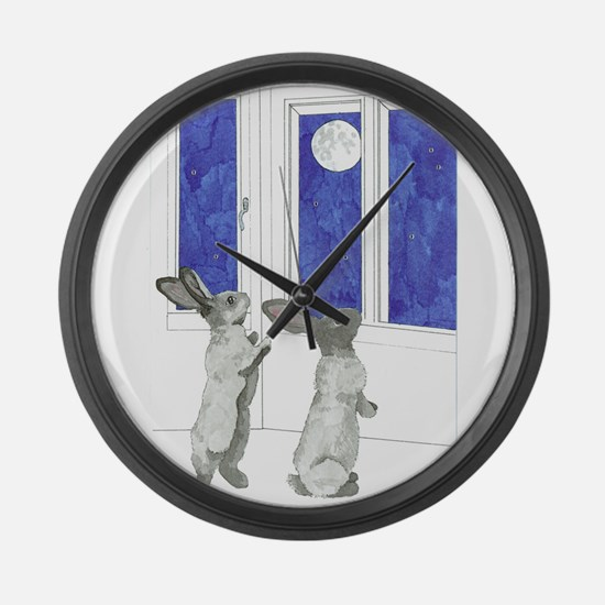 Daily Doodle 4 Rabbit Moon Large Wall Clock