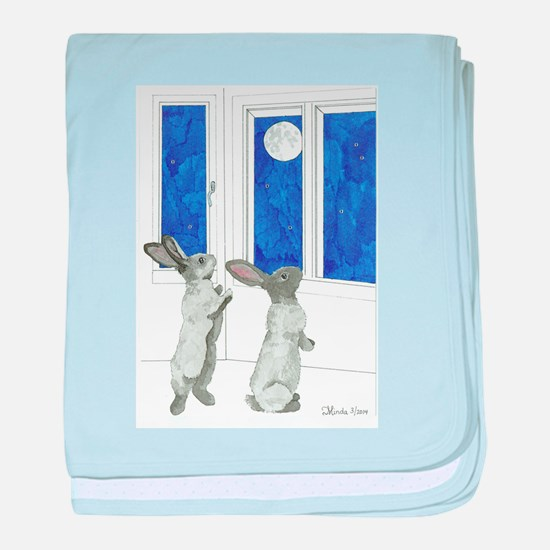 Daily Doodle 4 Rabbit Moon baby blanket