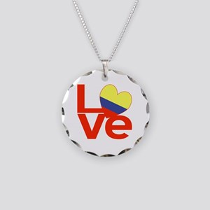 Red Colombia LOVE Necklace Circle Charm