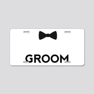 Groom with bow tie Aluminum License Plate