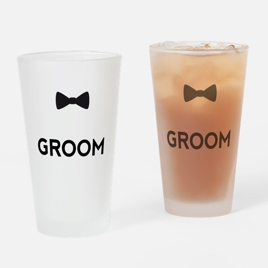 Groom with bow tie Drinking Glass