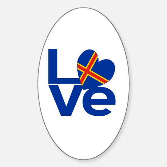 Blue Aaland Islands LOVE Sticker (Oval)