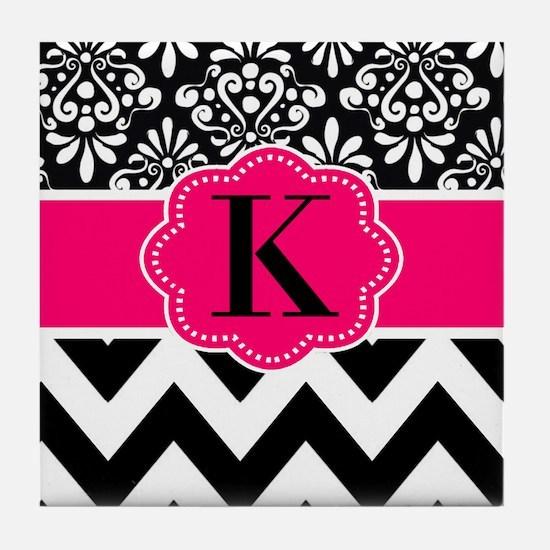 Black Hot Pink Damask Chevron Monogram Tile Coaste
