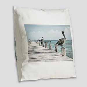 Pelicans Burlap Throw Pillow
