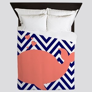 Navy Chevron with Coral Whale Queen Duvet