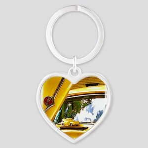 Vintage Yellow Ford F10 Heart Keychain