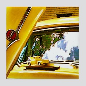Vintage Yellow Ford F10 Tile Coaster
