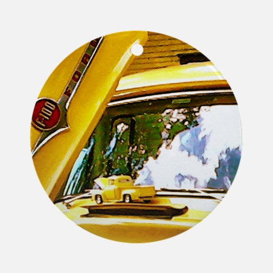 Vintage Yellow Ford F10 Round Ornament