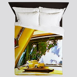 Vintage Yellow Ford F10 Queen Duvet