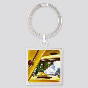 Vintage Yellow Ford F10 Square Keychain