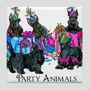 Scottish Terrier Party Animals Tile Coaster