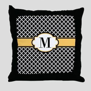 Black Yellow Quatrefoil Monogram Throw Pillow