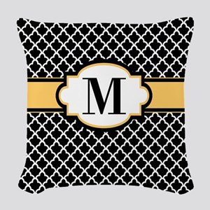 Black Yellow Quatrefoil Monogram Woven Throw Pillo