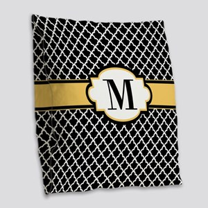 Black Yellow Quatrefoil Monogram Burlap Throw Pill
