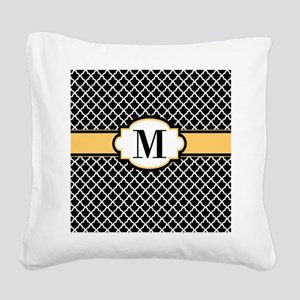 Black Yellow Quatrefoil Monogram Square Canvas Pil