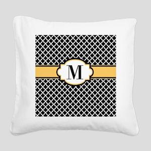 Black Yellow Quatrefoil Monogram Square Canvas Pil