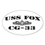 USS FOX Sticker (Oval)