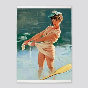 Pin Up Girl, Lilypads, Vintage 5'x7'area Rug