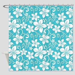 Plumeria Blue Curacao Shower Curtain