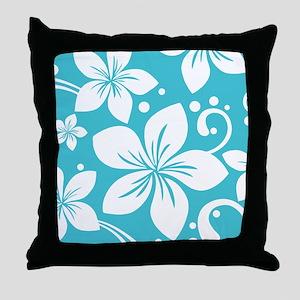 Plumeria Blue Curacao Throw Pillow