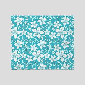 Plumeria Blue Curacao Throw Blanket