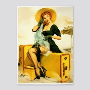 Pin-Up Girl, Suitcases, Vintage 5'x7'area Rug