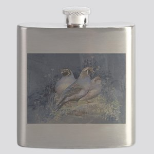 Watercolor California Quail Birds Flask