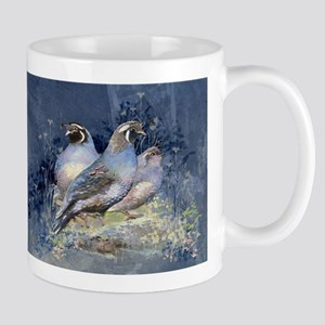 Watercolor California Quail Birds Mugs