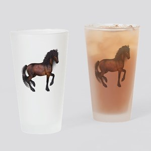 brown Horse 2 Drinking Glass