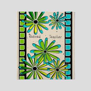 Retired Teacher Floral Throw Blanket