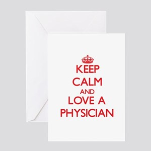 Keep Calm and Love a Physician Greeting Cards