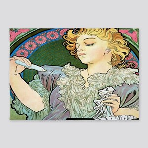 Alfons Mucha 1896 Lance Parfum Rodo 5'x7'Area Rug