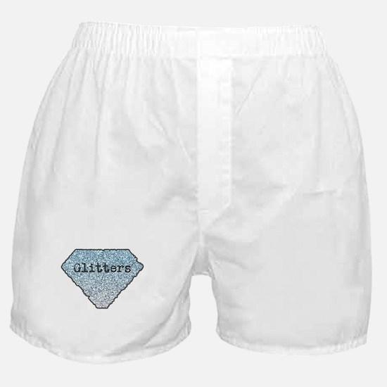 Silver Blue Glitters Sparkles Texture Boxer Shorts