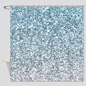 Silver Blue Glitters Sparkles Texture Shower Curta