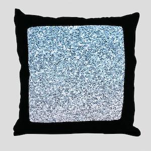 Silver Blue Glitters Sparkles Texture Throw Pillow