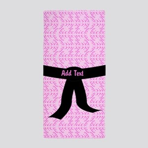 Martial Arts Kick Chick pink Beach Towel