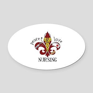 Peace Love Nursing Oval Car Magnet