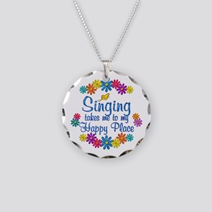 Singing Happy Place Necklace Circle Charm