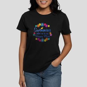 Swimming Happy Place Women's Dark T-Shirt