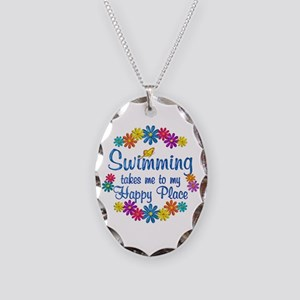 Swimming Happy Place Necklace Oval Charm