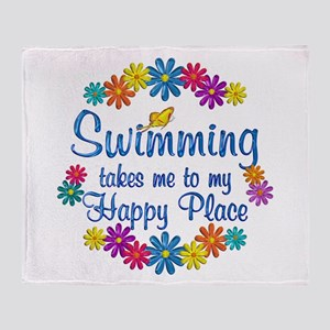 Swimming Happy Place Throw Blanket