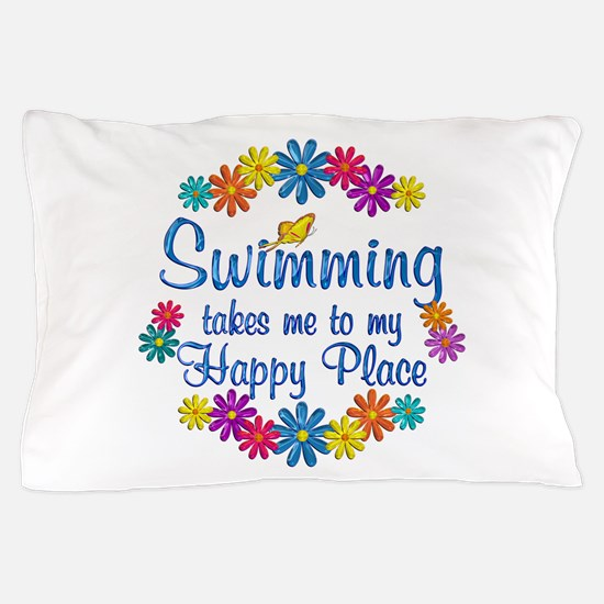 Swimming Happy Place Pillow Case