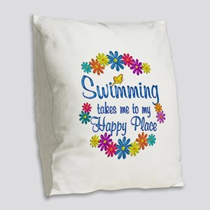 Swimming Happy Place Burlap Throw Pillow