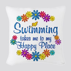 Swimming Happy Place Woven Throw Pillow