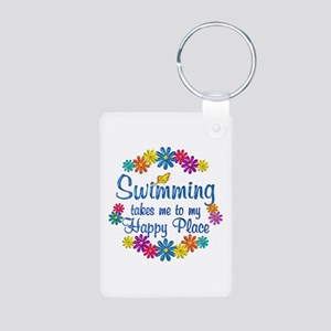 Swimming Happy Place Aluminum Photo Keychain