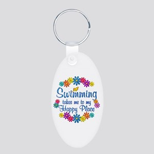 Swimming Happy Place Aluminum Oval Keychain