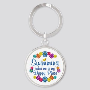 Swimming Happy Place Round Keychain