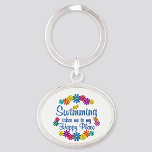 Swimming Happy Place Oval Keychain