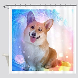 Smiling Corgi with Blue Wave Shower Curtain